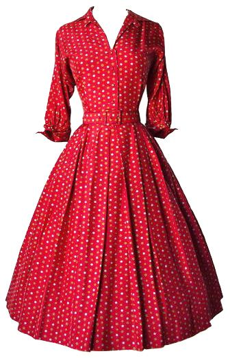 1950s - red shirtwaist dress, three-quarter sleeves with cuffs .