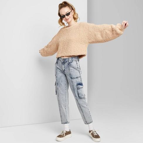Women's High-Rise Straight Leg Ankle Length Cargo Jeans - Wild .