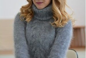 Classic cabled Tneck mohair sweater in gray/T91 in 2020   Mohair .