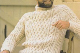 Mens Aran Sweater Knitting Pattern PDF Mans 32 34 36 38   Et