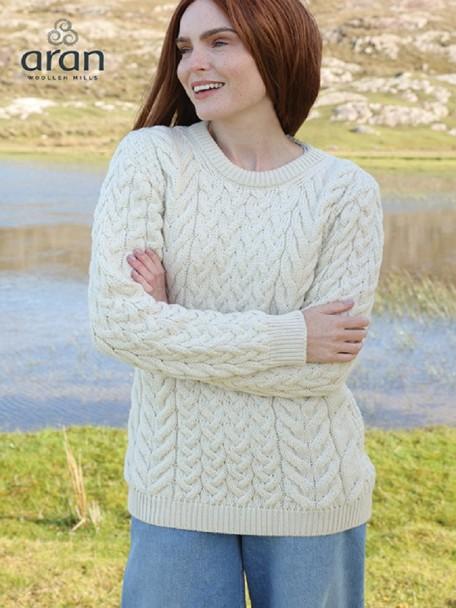 Super Soft Merino Wool Traditional Aran Sweater Natural   The .