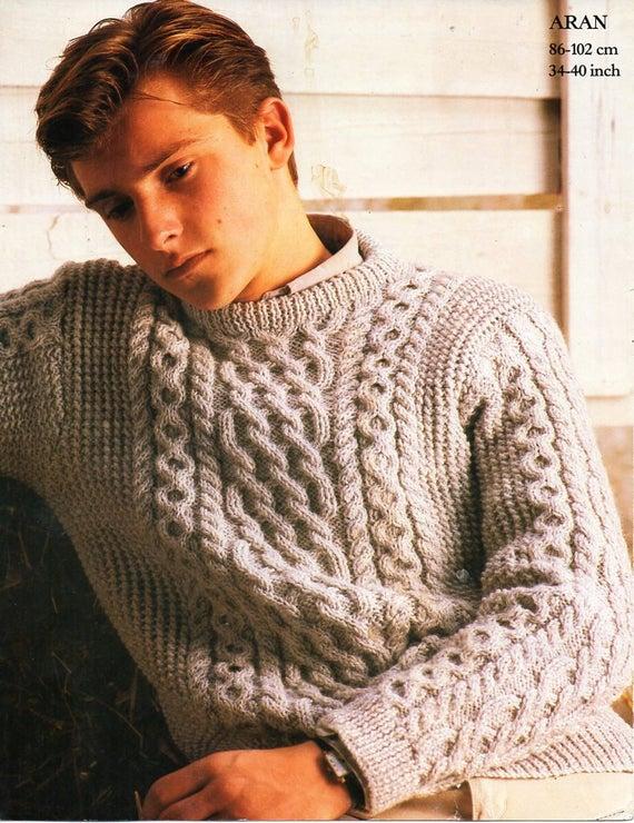 Mens aran sweater knitting pattern pdf cable crew neck jumper   Et