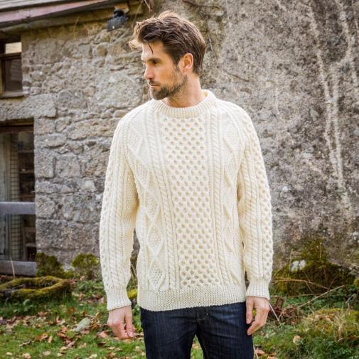 Buy Mens Buncrana Handknit Aran Sweater - The Irish Sto