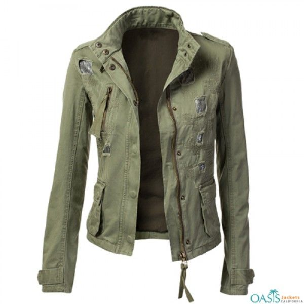 Wholesale Black Zipper Green Army Jacket Manufacturers in 2020 .
