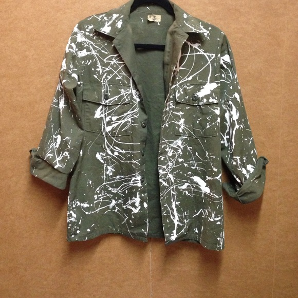 Urban Outfitters Jackets & Coats | Paint Splattered Army Jacket .