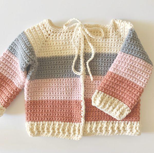 Crochet Four Color Baby Sweater | Daisy Farm Craf