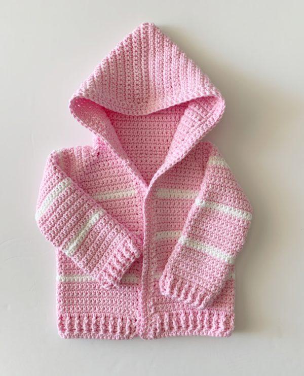 Pink Single Crochet Baby Sweater | Daisy Farm Craf