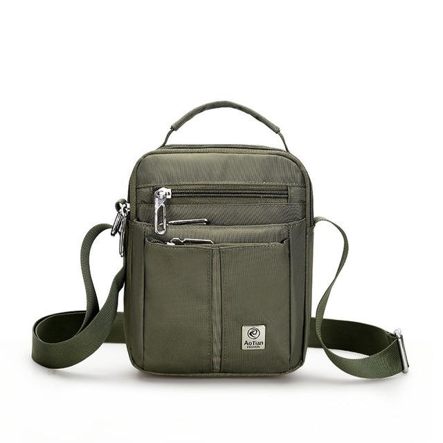 Waterproof Nylon Small Flap Messenger bag For Men Black Casual .