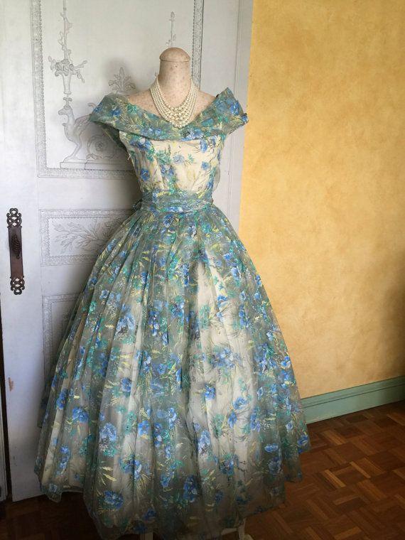 50s Vintage Dress/ 1950s Blue Floral Dress/ 50s Ball Gown/ Wedding .