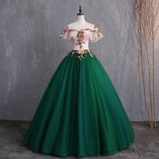 Vintage / Retro Dark Green Prom Dresses 2019 Ball Gown .