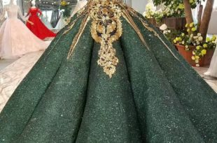 Green Ball Gown Sequins Gold Appliques Off The Shoulder Wedding .