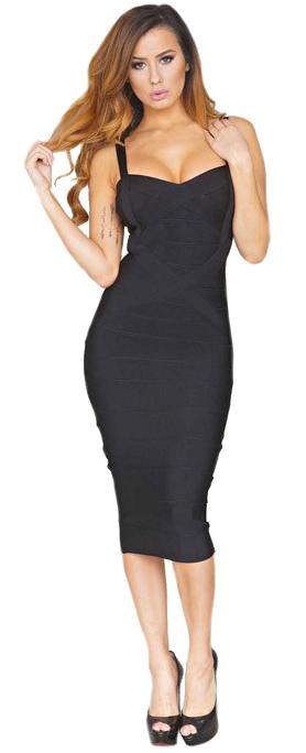 Crisscross Midi Bandage Dress Black - Bandage Dresses and .