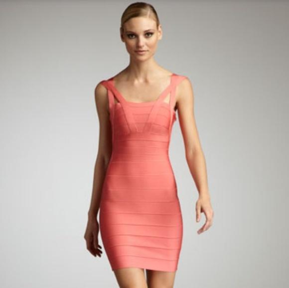 Herve Leger Dresses | Coral Bandage Dress | Poshma