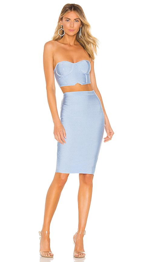 superdown Ari Bandeau Bandage Skirt Set in Baby Blue | REVOL