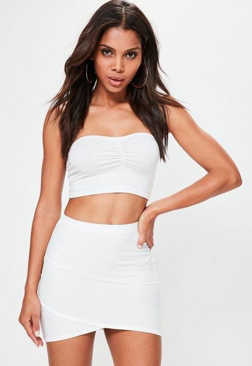 Missguided - Bandage Asymmetric Hem Mini Skirt White | Mini skirts .