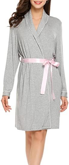 Ekouaer Women's Cotton Bathrobes Soft Kimono Robe Knee Length Spa .