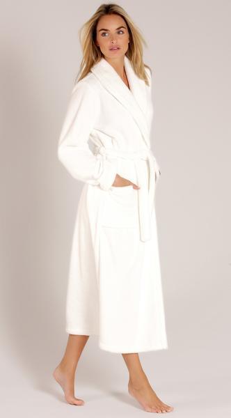 Women's White Terry Velour Shawl Collar Robe Wholesale 100% Cotton .