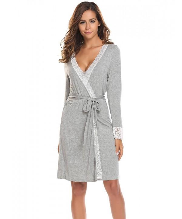 Bathrobes Women's Soft Lace-Trimmed Robe Long Sleeve Sleepwear S .