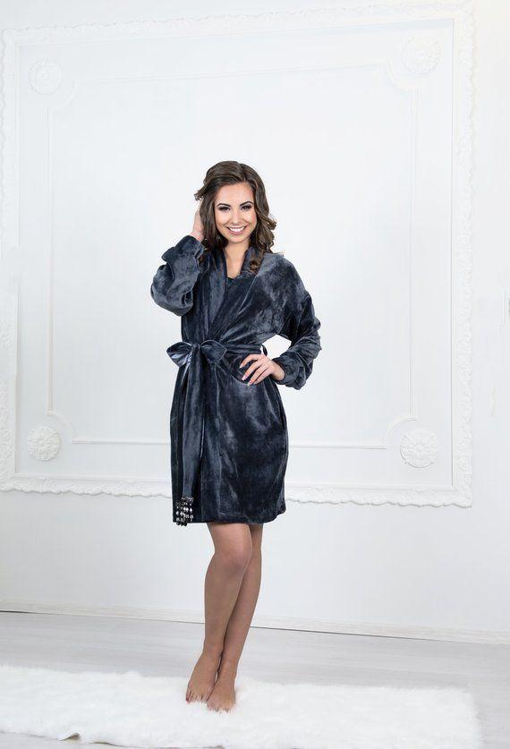 Velvet kimono robe Velour Dressing gown Gray velvet robe Soft .