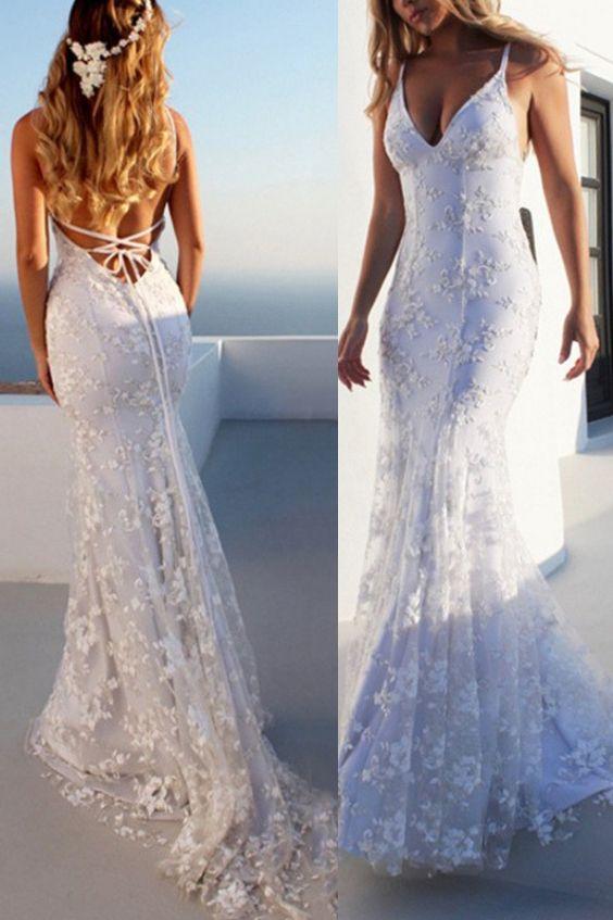 Mermaid Spaghetti Straps Lace Beach Wedding Dress 2019   Lace .