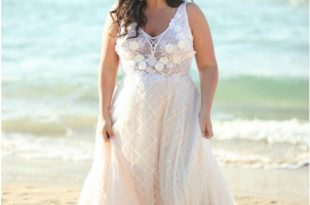 Plus Size Scoop Pink Lace Beach Wedding Dress with Appliques .