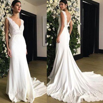 $235.99 V-neck Sleeveless Mermaid 2020 Beach Wedding Dress La