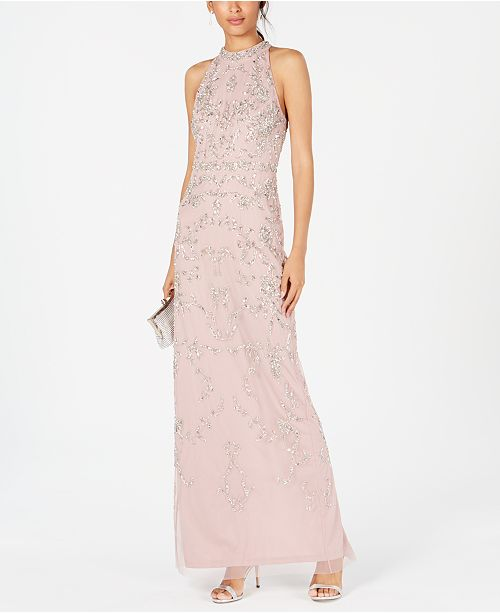 Adrianna Papell Beaded Halter Gown & Reviews - Dresses .
