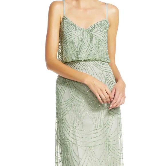 Adrianna Papell Dresses | Sage Green Beaded Dress | Poshma