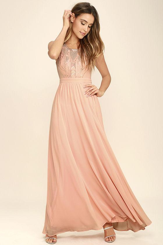 Lovely Blush Pink Dress - Maxi Dress - Beaded Dress - $84.