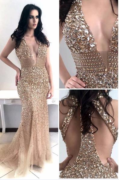 Gold Heavy Beaded Mermaid Prom Dress,Charming Beaded Evening Dress .