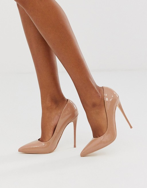 ASOS DESIGN Penelope stiletto pumps in beige patent | AS