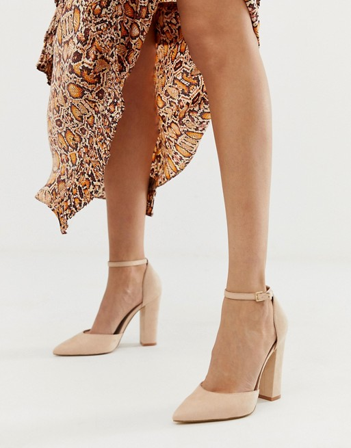 ALDO Nicholes block heeled pumps with ankle strap in beige | AS