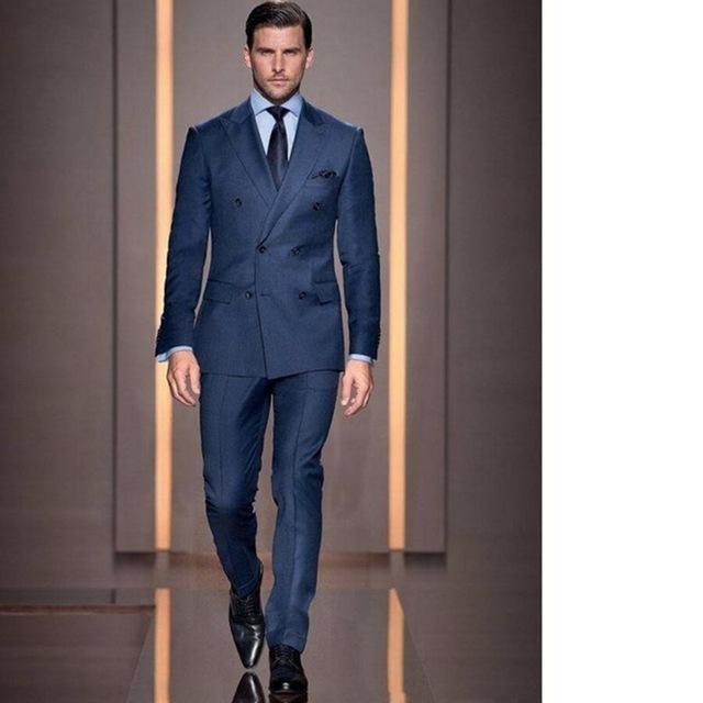 2020 Summer Style Custom Double Breasted Man Suit Groom Tuxedo .