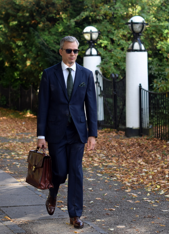 Blue Bespoke Suit and Brown Edward Green Shoes