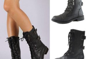 Womens Leather Lace Up Ankle Martin Biker Boots Mid Calf Combat .