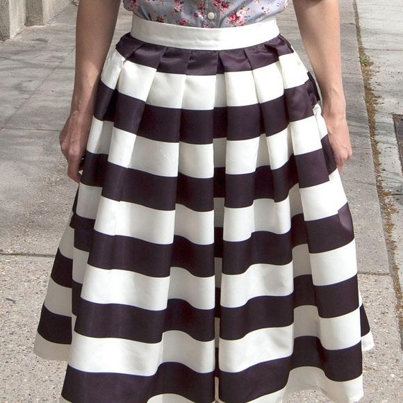 Skirts | Black White Striped Skirt | Poshma