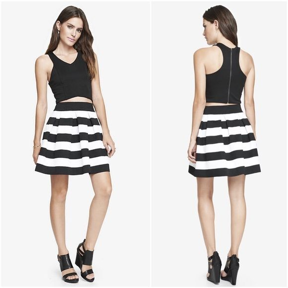 New! Express Black & White Striped Elastic Skirt New with tag .
