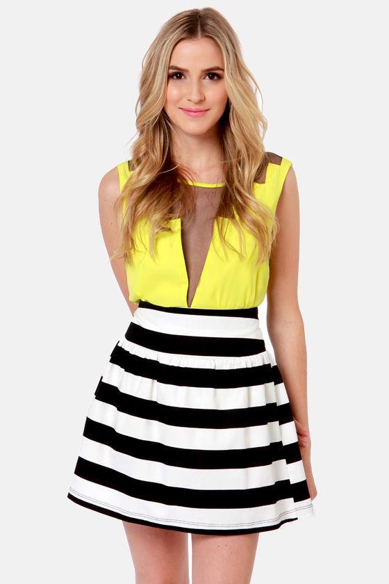 Adorable Black and White Skirt - Striped Skirt - High-Waisted .