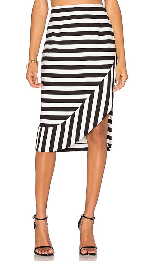 TY-LR The Borsa Stripe Skirt in Black & White Stripe | REVOL