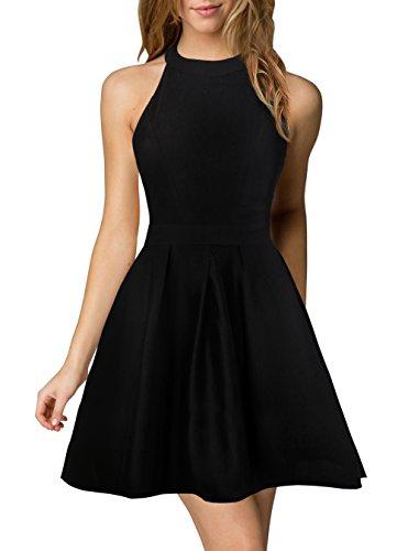 Berydress Women's Halter Neck Backless Black Cocktail Party Dress .