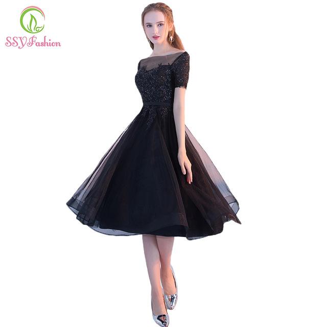 SSYFashion New The Banquet Elegant Little Black Dress Bride Lace .