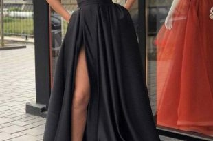 Sexy Black Evening Dresses Satin Long Split by RosyProm on Zibb