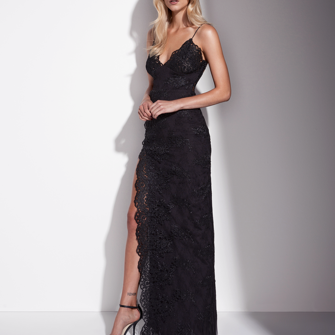 Sexy Black Evening Dress, Lace Evening Dress, by prom dresses
