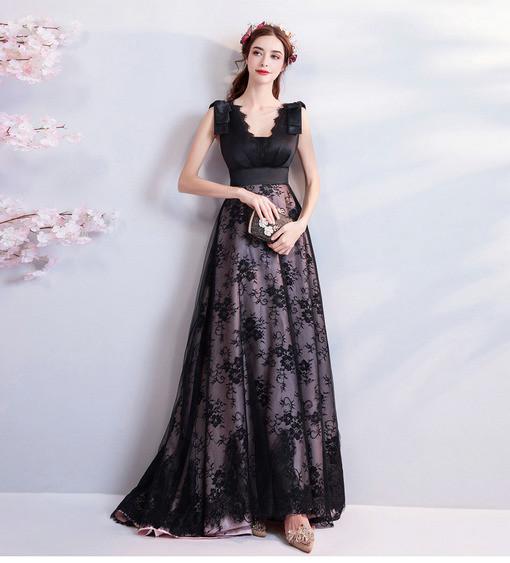 Black Evening Dress Plus Size V Neck Prom Dress Tra