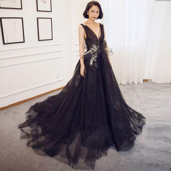 Sexy Black Evening Dresses 2018 A-Line / Princess V-Neck .
