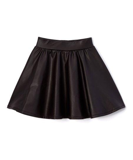 Dreaming Kids Black Faux Leather Skirt - Infant, Toddler & Girls .