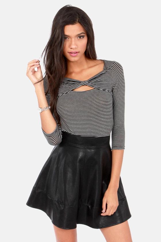 Cute Black Skirt - Vegan Leather Skirt - Mini Skirt - $43.