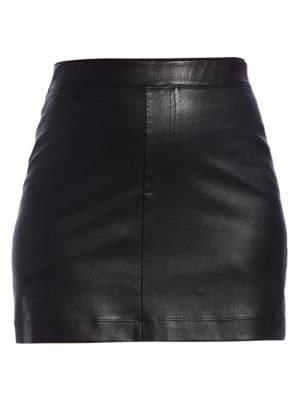 Helmut Lang - Stretch Leather Mini Skirt - saks.c
