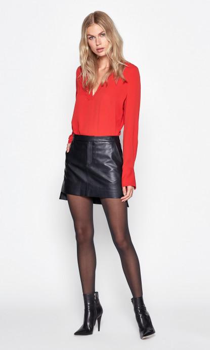 Delafine Leather Skirt in True Black | Equipme