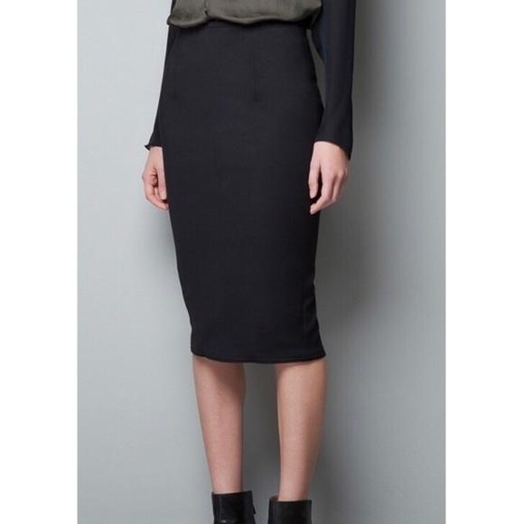 Zara Skirts   Woman Black Stretch Pencil Skirt Large   Poshma